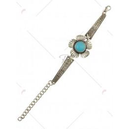 Faux Turquoise Engraved Floral Bracelet