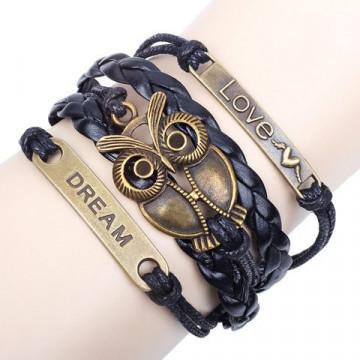 Vintage Night Owl Embellished Multi-Layered Chain Bracelet For Men and Women
