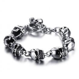 Chic Burnished Skulls Bracelet For Men