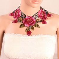 Elegant Embroider Flower and Leaf Charming Necklace For Women