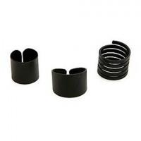 3PCS of Simple Black Alloy Rings For Women