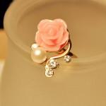 Cute Beads Rhinestone Rose Flower Ring For Women